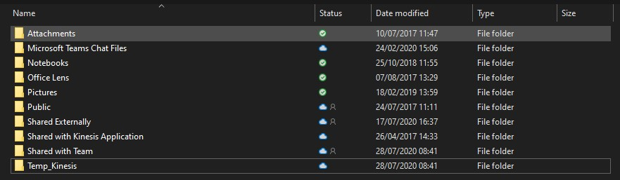 End result - structured folders in OneDrive