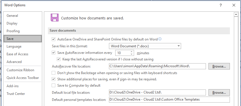 Setting default template locations via the Options dialog