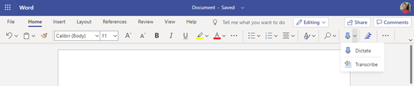 Start Transcribe from Word on the web, from the Dictate microphone icon